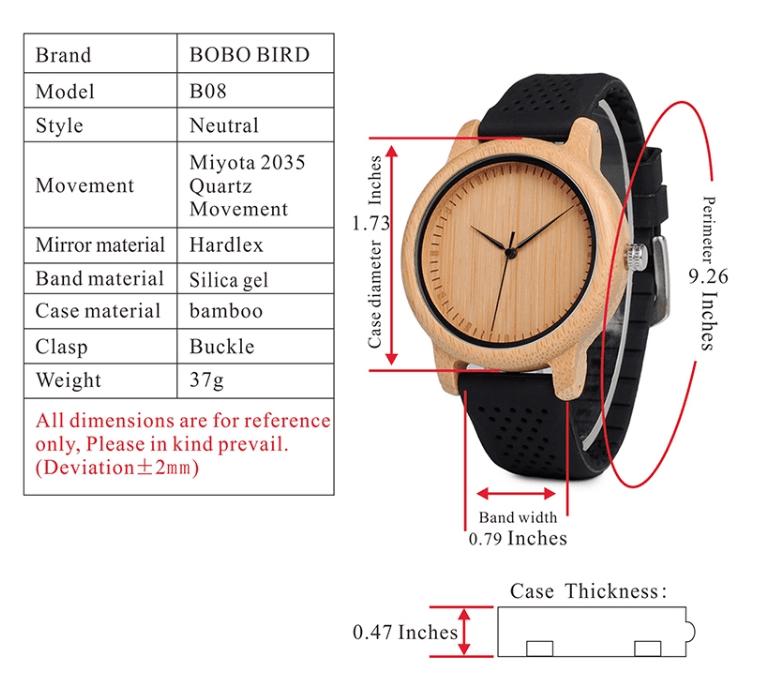 MONTRE bambou bracelet noir dimensions